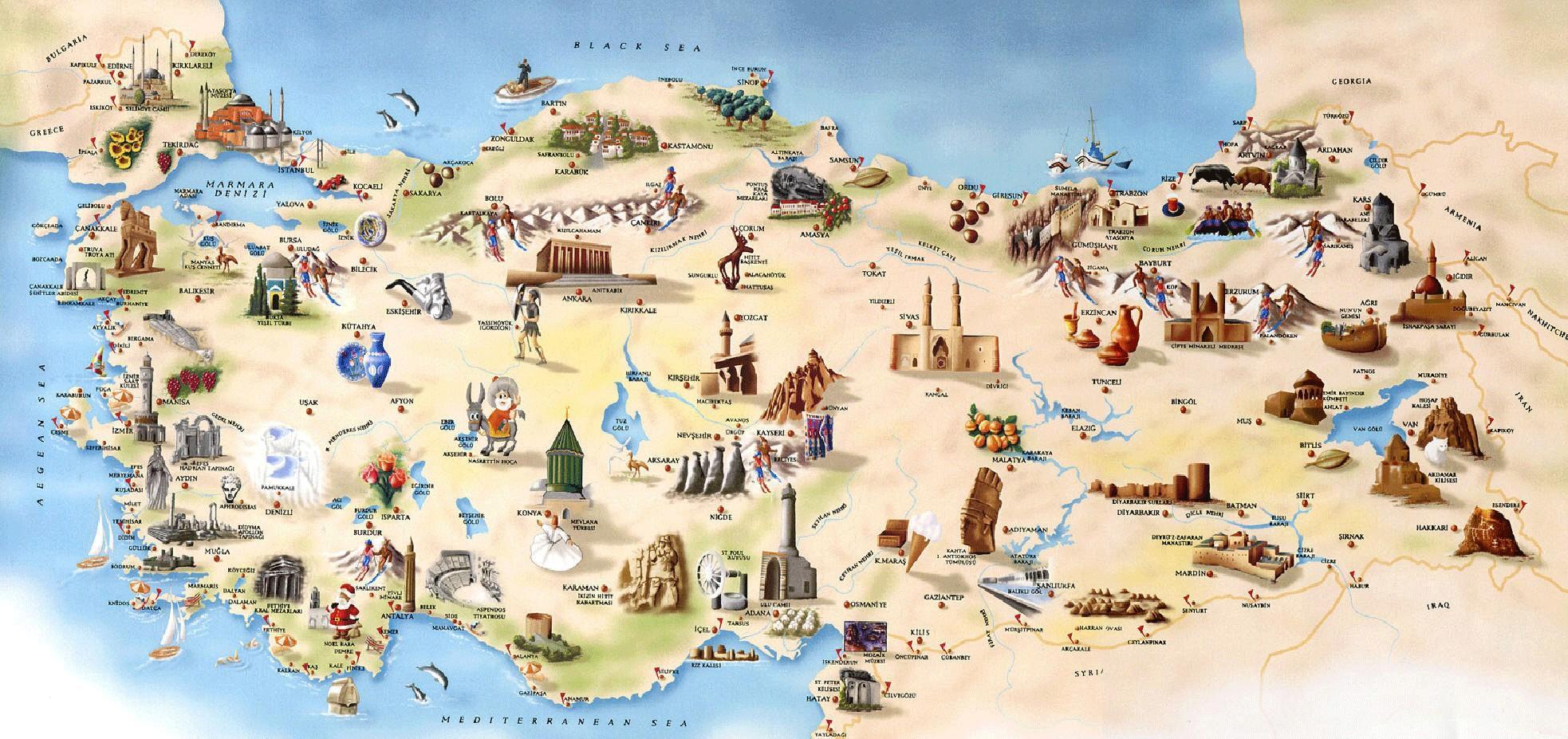 Turystyczna Mapa Turcji